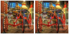Old Number 1 (sleightman 3D) Tags: allrightsreserved copyrightcarlwilson 3d 3dphotography crosseye crossview stereoview stereo stereoscopic stereogram sleightman stereoscope stereocard night hdr hdri silverdollarcity branson missouri fire engine horsedrawn old antique red wagon horse american americana