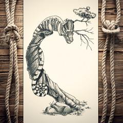 Chameleon (reXraXon) Tags: raxon art artwork pencilart drawing handdrawing sketch pencilsketch typography lettering handlettering letteringart chameleon tree