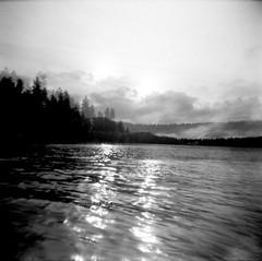 10.2016 LLWM Holga SFX BW Kayaking E0004 (Jcicely) Tags: 2016 bwfilm clouds doubleexposure holga kayaking lake loonlake loonlakewithmarvin october reflection sky sun trees water