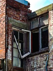 No Pane No Heat Gain (Steve Taylor (Photography)) Tags: broken drooping sagging leadpipe door architecture building window pipe brick newzealand nz southisland canterbury christchurch cbd city earthquake quake