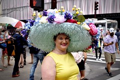 Please Don't Pick the Flowers (-»james•stave«-) Tags: newyork nyc manhattan easter parade fifthavenue fabulous hat sombrero bonnet flowers people woman smile portrait holiday color fashion style nikon d5300