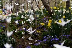 Garden Origami (JasonCameron) Tags: spring flowers color plant thanksgiving point utah origami paper crane swan decor decoration