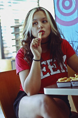 Fries (TheJennire) Tags: photography fotografia foto photo canon camera camara colours colores cores light luz young tumblr indie teen people portrait girl indieface curlyhair makeup red fashion mcdonalds 50mm fries food comida hair