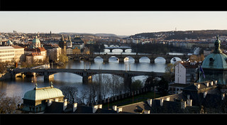 Prague bridges shortly before sunset