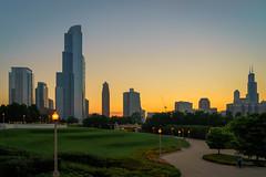 Chicago Skyline at Sunset (Wes Gibson) Tags: chicago photowalk illinois peakdesign unitedstates places northamerica treyratcliff