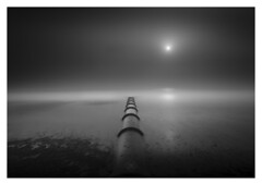 Pipeline to the East (picturedevon.co.uk) Tags: goodrington beach paignton torbay englishriviera devon england uk fineart bw bnw blackandwhite grey mono le longexposure seascape sea water sun mist fog minimal nisi nd filter canon outdoors seaside weather sand waves wwwpicturedevoncouk photography