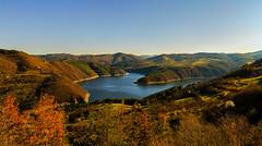 Warm sunset over damn Kurdzhali, Bulgaria (dontgiveacake) Tags: sun set rays sky damn bulgaria water mountin