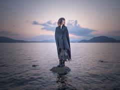 wind (shingo7099) Tags: girl lady woman lake wind april hokkaido japan cloud sky water shore pentax 645z mountain sun sunset stone rock