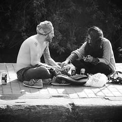 IMG_2236 (Kathi Huidobro) Tags: camdentown camden northlondon camdenlock riverlife hangingout chilling friends london streetphotography candid bw monochrome blackwhite