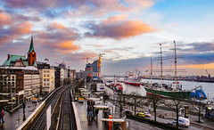 Waterfront in winter (Peter Leigh50) Tags: winter january railway river boat ship water sky sunshine clouds town city cityscape train railroad car van passenger germany hamburg docks canon g12