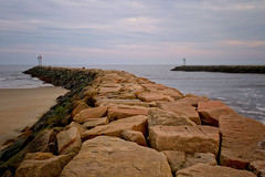 Back to Maine (SunnyDazzled) Tags: evening sunset beach jetty wells maine coast ocean cloudy spring granite boulders sand waves