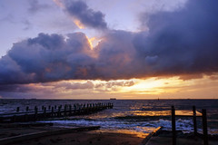 Stormy Melbourne (Marian Pollock (Weiler)) Tags: australia melbourne brighton victoria storm sunset highlights shore clouds reflections pier dusk