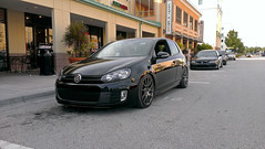 New Shoes 2 (Sherlock997) Tags: show street city light sun sexy cars car wheel racecar photoshop golf volkswagen logo university shine close view streetlamp lol stripes side parking low wheels progress static vehicle gti lowered 2012 pos slammed stance gunmetal neuspeed mk6 notevenlow rse12