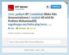 SVT lnkar till Regndroppe.me! (ehsanone) Tags: demonstration sverige malm mohammad nyheter svt profeten