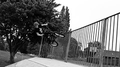 Wall Ride (Sam Crowston) Tags: blackandwhite white black bike sport wall bmx ride wallride