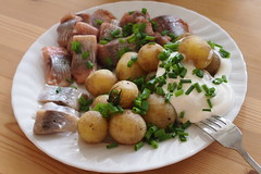 Potatoes and herring (petrusko.rm) Tags: summer food dinner pen potatoes sweden olympus mid 45mm herring ep3 m43 mft
