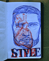 Life Style (Marcos D. Torres) Tags: life blue red bird face illustration pen pencil paper fly sketch break heart tea drawing knife drawings style away overlay sketchbook doodle illustrator doodles draw sketches marcos score thug ballpoint bic torres