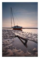 Anchored (A-D-Jones) Tags: sea orange sun seascape beach set landscape boat sand warm sailing tide low anchor mersey wallasey wirral meols