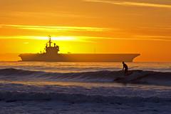 ocean california sunset silhouette coast nikon pacific dusk background military homelandsecurity navy january nikond100 nautical d100 aircraftcarrier 2008 warship ussronaldreagan