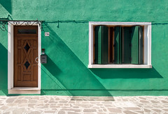 Saterday sun.. (areyarey) Tags: life street door old travel venice windows light shadow summer urban italy sun sunlight house color colour building green home window wall architecture facade vintage outside island design italian c