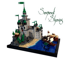 Serpent Shores (Siercon and Coral) Tags: green tower castle port dock ship lego micro trade stronghold moc