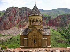 Surp Astvatsatsin church, 1339. Noravank, Armenia (Tiigra) Tags: 2006 armenia noravank architecture church dome rock spire village areni vayotsdzor