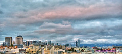 Storm Clouds Blow Over the SF Skyline HDR Panorama (Walker Dukes) Tags: sanfrancisco california blue trees red sky urban orange black green art clouds canon buildings landscape construction cityscape skyscrapers cranes highdefinition handheld sfbayarea hdrpanorama highdefinitionresolution canons95