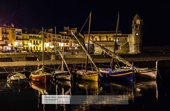 Collioure Harbour on a lovely Barmy hot evening (doublejeopardy) Tags: fish classic landscape boat clocktower nighttime collioure anchovy france2013 anchovyfishingboats