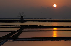 Those last moments (Gregor  Samsa) Tags: trip light sunset summer italy sun reflection mill windmill moulin evening twilight pond italia dusk salt illumination august windmills sicily mills ponds province sicilia trapani evaporation marsala moulins saltevaporationponds