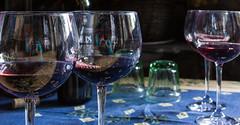 Self-portrait in wine