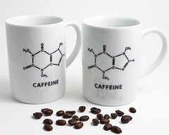 Caffeine Molecule Coffee Cups (lltownley) Tags: white black art coffee ceramics tea coffeecup science chemistry mug pottery coffeemug etsy teacup caffeine molecule