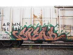SWEAR (2ONE5-1981 (S.O.B.A.)) Tags: art oregon train bench graffiti northwest graf tags spraypaint boxcar bombs westcoast steaks railroadtracks throwup handstyles americansteel hobomonikers