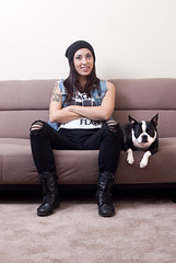 Ashley and Piper (Jacob Gill) Tags: rock bostonterrier punk denim vest girlswithtattoos alienbees jacobgillphotography