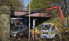 Micra mishap (route9autos.co.uk) Tags: road street old rescue castle truck river scotland crash glasgow southside cart tow cathcart