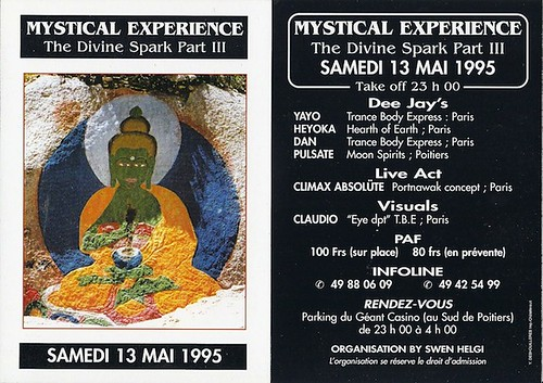 "Patrice Heyoka - Flyer 13/05/1995 - ""The Divine Spark III"" (Poitiers) <a style=""margin-left:10px; font-size:0.8em;"" href=""http://www.flickr.com/photos/110110699@N03/11328891895/"" target=""_blank"">@flickr</a>"