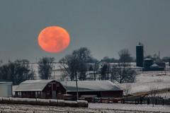 Full red Moon setting 12-17-13 (Thomas DeHoff) Tags: red moon rural farm sony iowa full a700