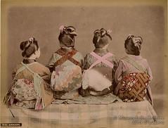 Kusakabe Kimbei, Dancers, ca. 1890. (Nationalmuseet) Tags: color art japan painting photography colored yokohama handcoloured