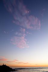 Hello Moon (Melissa Emmons Photography) Tags: ocean california sunset sky moon sunshine canon landscape golden rocks warm waves jetty shoreline oceanside foam 5d carlsbad