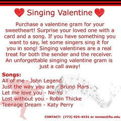 "Valentines day is coming up! Don't forget to buy your loved one or friend a singing valentine! If you have a specific song you want sung call or email us! $2 for a card and candy, $5 for a song+card+candy. • <a style=""font-size:0.8em;"" href=""http://www.flickr.com/photos/109776203@N02/12335188994/"" target=""_blank"">View on Flickr</a>"