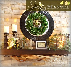 Easter Mantel (dining delight) Tags: bunny birdcage fireplace ivy lantern candlesticks minilights heisrisen boxwoodwreath blackroundmirror |springmantel