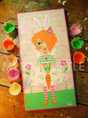 Bunny Angel and Carrot Doll ORIGINAL painting by LuLu Mypinkturtle (LuLu Mypinkturtle) Tags: original rabbit bunny art girl illustration angel painting easter spring mod doll forsale lulu folk pop canvas carrot etsy naive bigeye wideeye antropomorphic mypinkturtle mypinkturtleshop