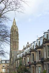 Westhall Gardens, Edinburgh (David_Leicafan) Tags: 50mmsummiluxv2 church jrussellwalker evangelicalchurch frenchgothic tower terrace townhouses victorian baywindows