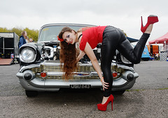 Holly FT  150 (Fast an' Bulbous) Tags: 57 chevy chevrolet classic american car drag race turbocharged fast speed power oldtimer vehicle automobile outdoor people girl woman chick bebe hot hotty sexy pinup model longhair brunette red shoes stilettos high heels sixinch 6inch leather pvc leggings jeans tight ass