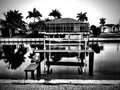 View across the canal… (Dennis Sparks) Tags: lanai florida marcoisland blackwhite canal iphone