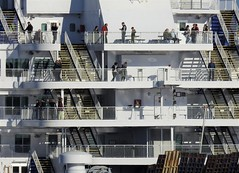 King Seaways - Stern, Observation Decks (Gilli8888) Tags: tyneandwear northtyneside northsea southtyneside northshields southshields port ship boat vessel maritime portoftyne tynemouth dfds dfdsferry ferry kingseaways passengers amsterdamferry marine stairways stairs decks stern nikon p900 coolpix