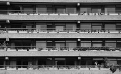 Coffee on a sunny Saturday morning at Thomas More House, The Barbican (neil mp) Tags: london easter barbican barbicanestate monochrome blackandwhite modernism modernmovement brutalism concrete chamberlinpowellbon thomasmorehouse balcony shadow contrast coffee