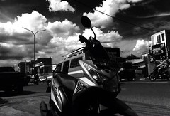 Iphone 4, action. (silmihidayat) Tags: motorcycle could sky indonesia street blackandwhite city