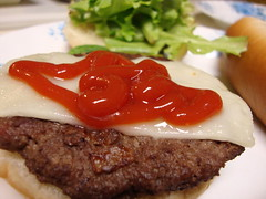Cheeseburger. (dccradio) Tags: lumberton nc northcarolina robesoncounty food eat meal supper meat ketchup catsup bread sandwich vegetable lettuce cheese swisscheese meltedcheese cheeseburger hamburger hamburg lunch dinner