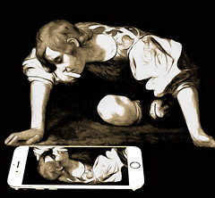Narcissus, Father of the Selfie (Lightcrafter Artistry) Tags: narcissus caravaggio painting art cellphone iphone selfie photoshop gaze reflection self greek greekmythology mythology philosophy satire culturalcommentary narcissism humannature love cynical jaded