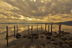 Resti / Remains (Lago Di Bracciano, Lazio, Italy) (AndreaPucci) Tags: bracciano lago lake italia italy clouds reflections ruins lazio rocks